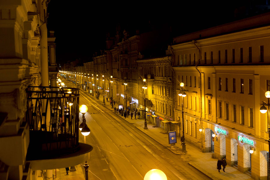 Nevsky Prospect by night, St. Petersburg, Russa, Head first