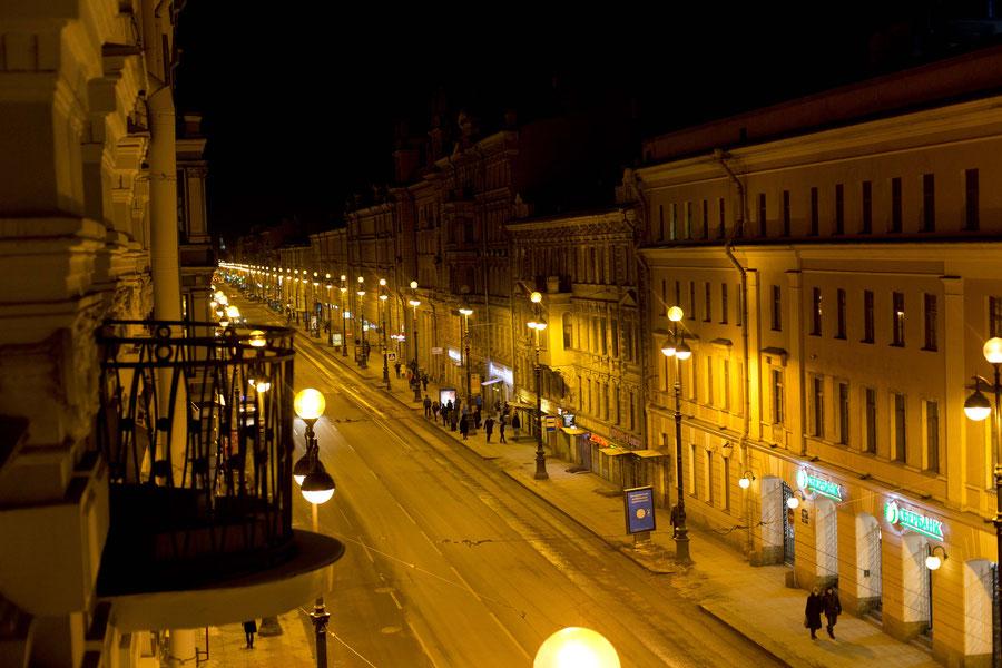 Nevsky Prospect by night, St. Petersburg, Russa, Head first