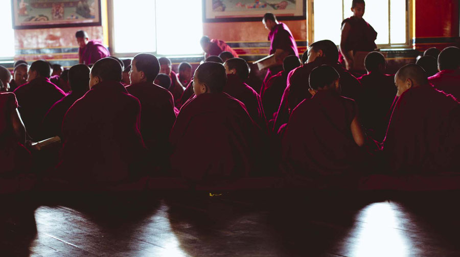 Pictures from the daily live of the young monks, here depicted during a singing lesson, Kopan Monaestery, Nepal