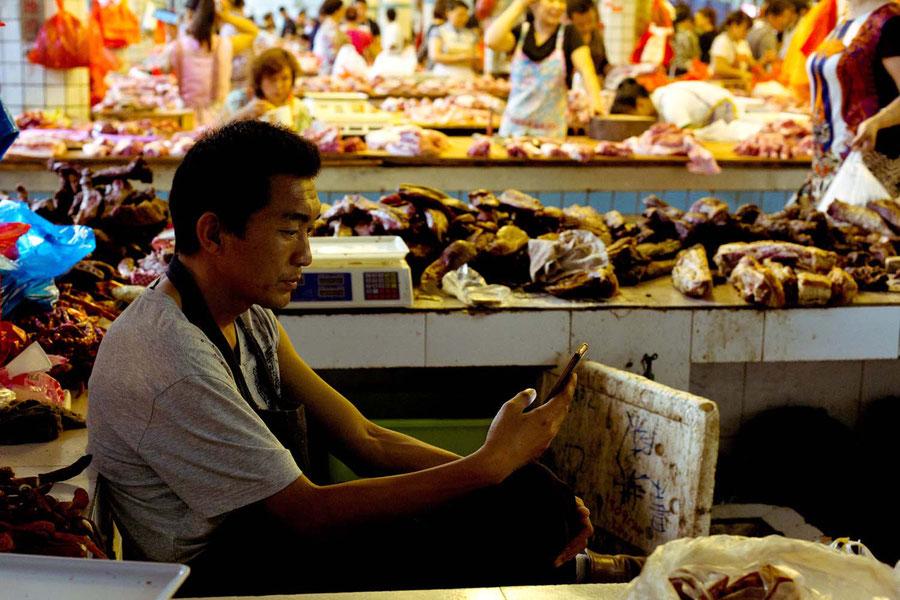 Fleischstand, Jinghong, China
