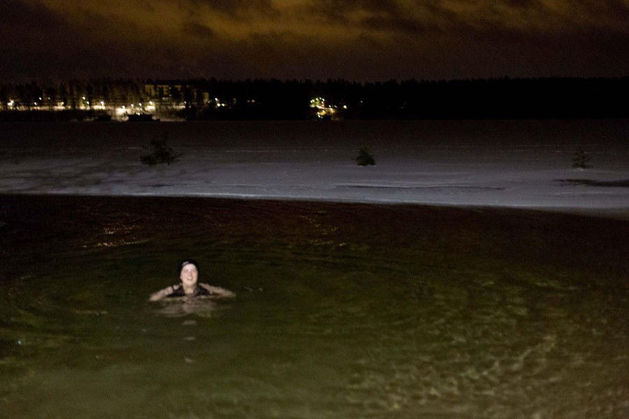 Blurry but happy in the ice cold water, Finland