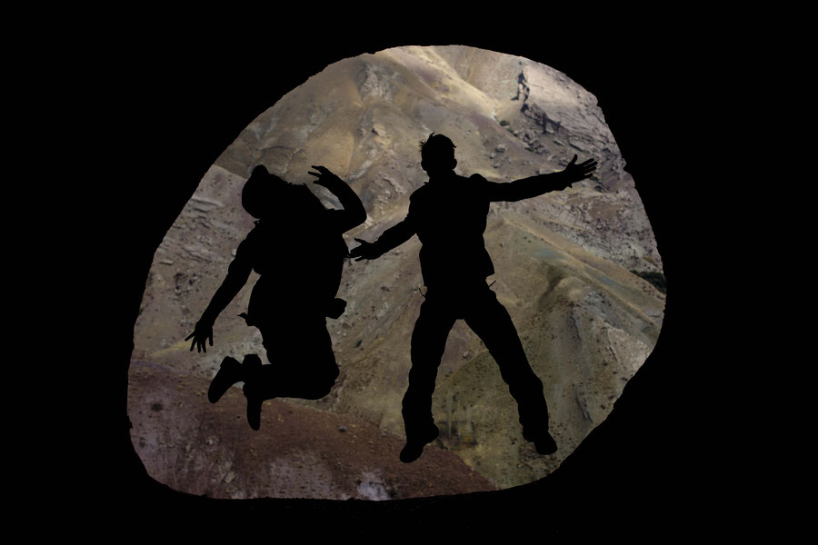 Silhouette jumping, Alamut Castle, Qazvin, Iran