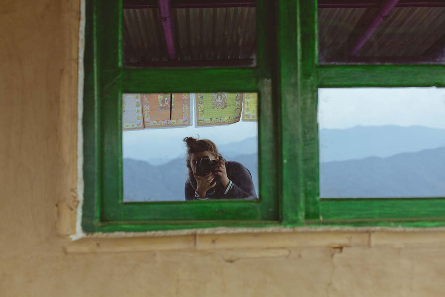Earthwalls, tin roof and reflective windows, Sister's Homestay, Nagarkot, Nepal