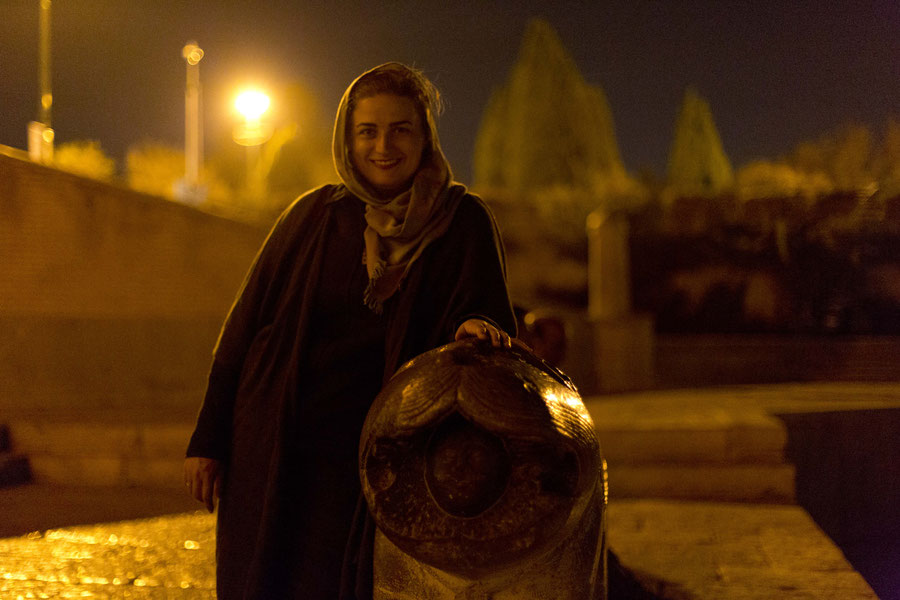 Portrait next to a lion, Isfahan, Iran