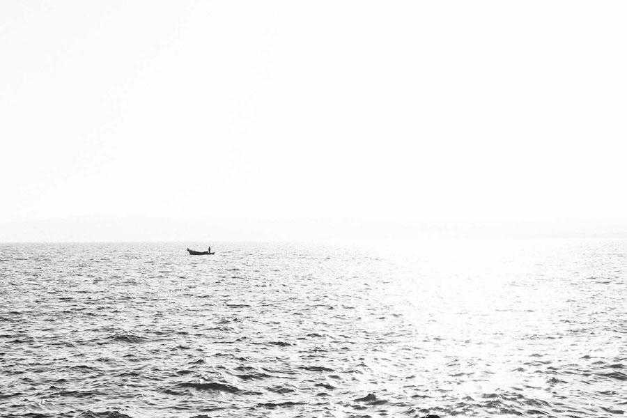 Fischer auf dem Bolsenasee, Bolsena, Italien