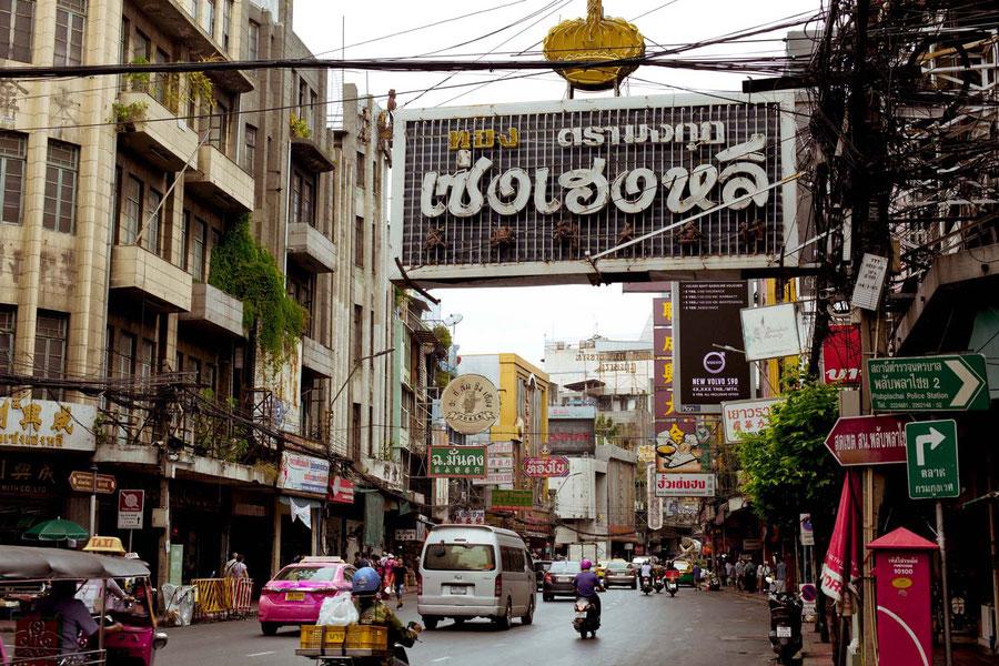 Busy Chinatown road, Bangkok, Thailand