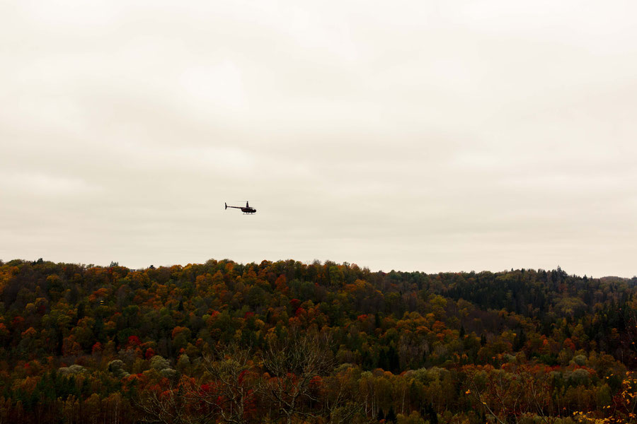 helicopter flying over the Gauja valley, Latvia