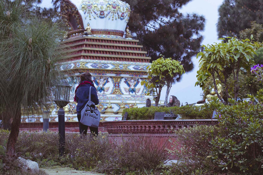 Culture clash, St. Pauli in Kopan, Kopan Monaestery, Nepal
