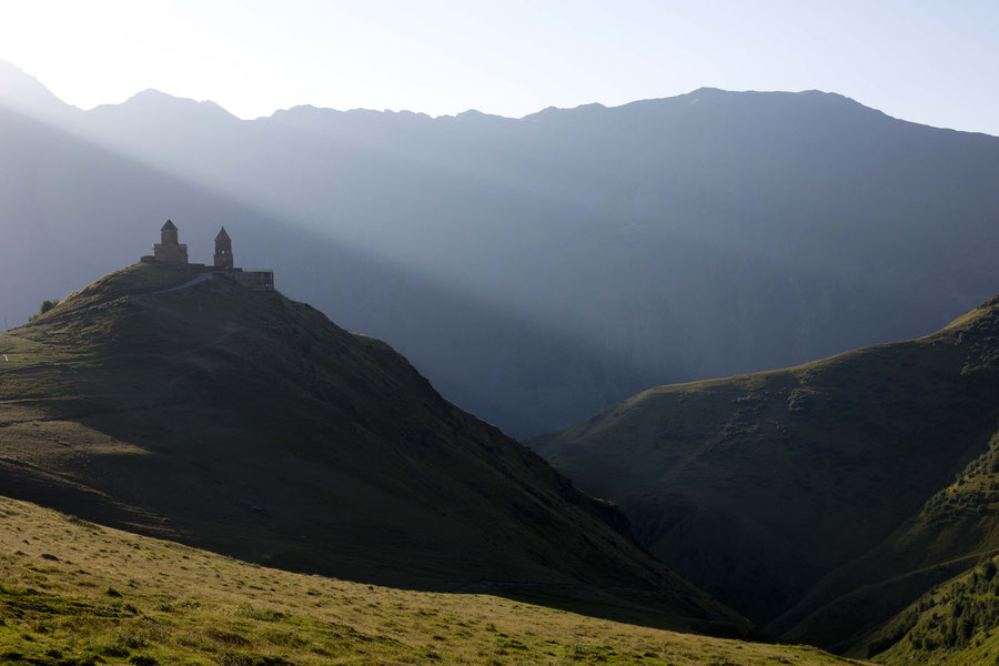 Gergeti Trinity Church in the first light, Kazbegi, Georgia