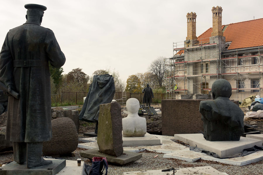 Soviet statues in the Museums parc, under construction, half finished, Tallinn, Estonia.
