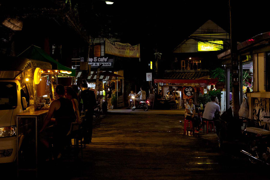 Side street of the night market in Pai, Thailand