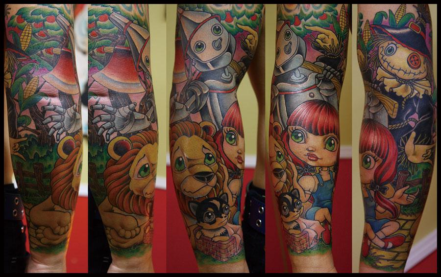 オズの魔法使いスリーブタトゥー The wizard of OZ sleeve tattoo
