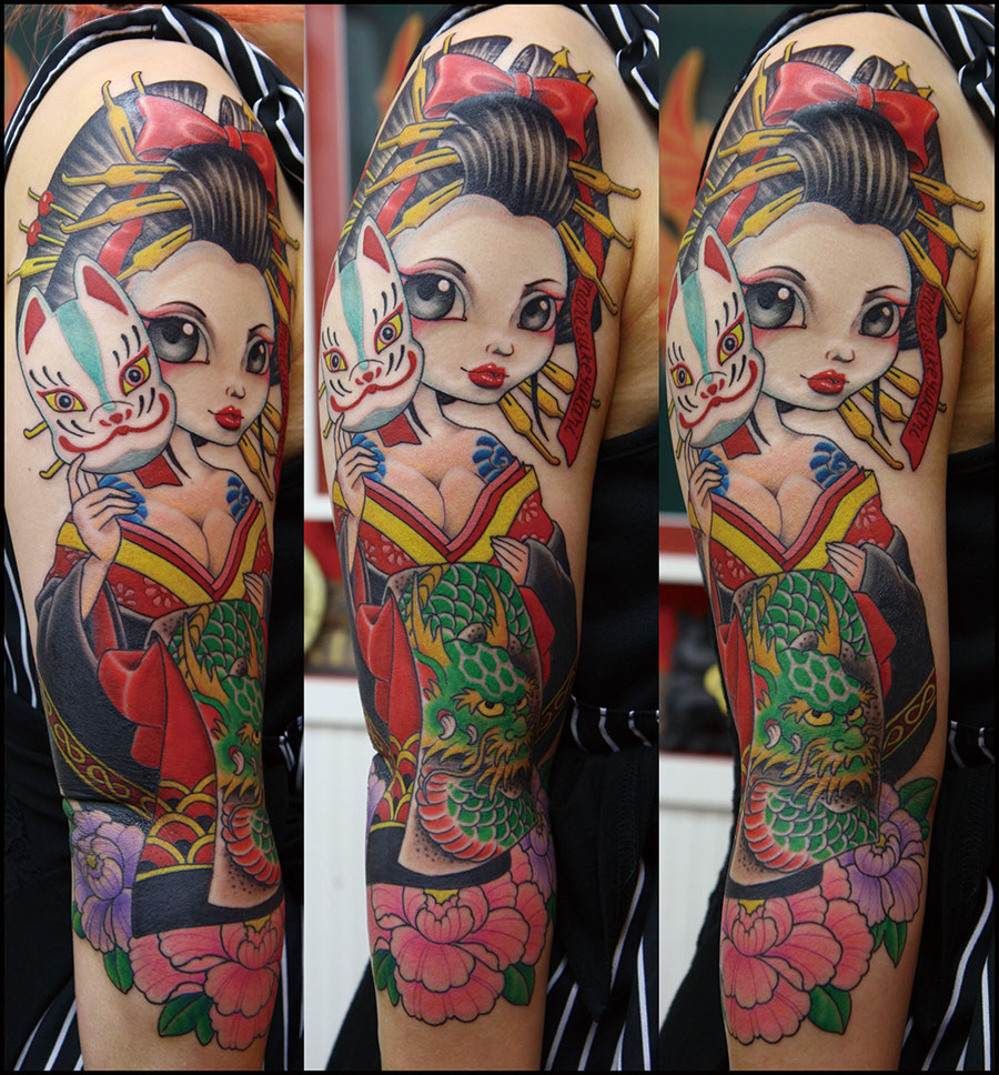 oiran sleeve tattoo 花魁タトゥー