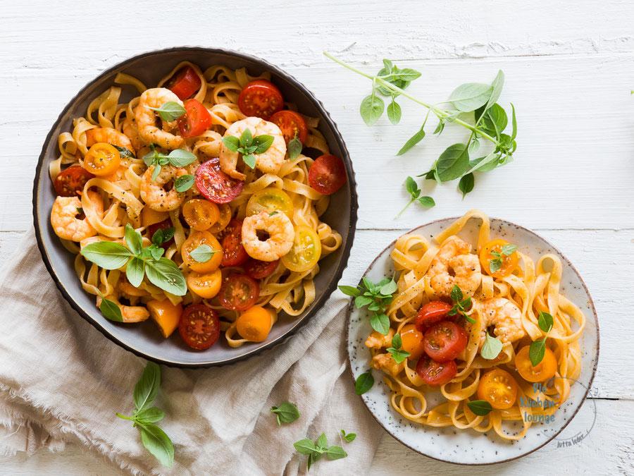 Tagliatelle con Gamberetti. Ruck Zuck Rezept für Pasta mit Garnelen