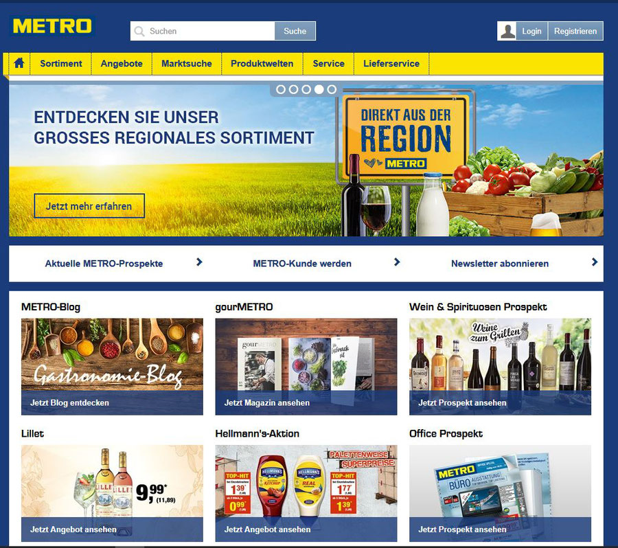Webseite Metro Cash and Carry