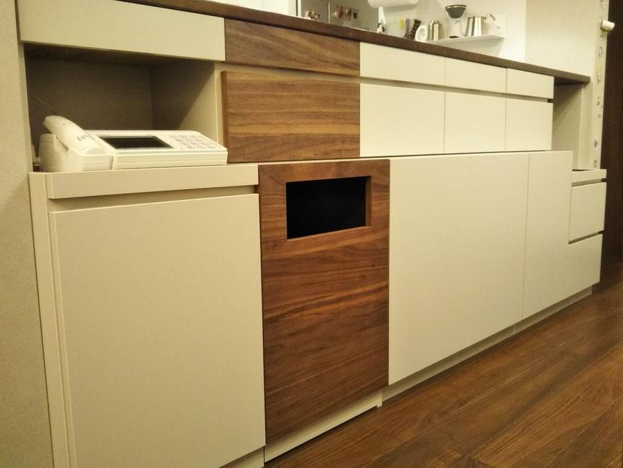 キッチンカウンター下の収納棚 整理整頓 オーダー家具