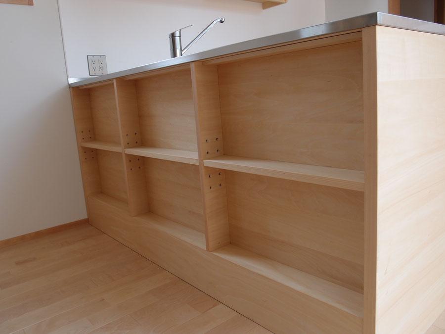 キッチンカウンター下収納 飾棚 オーダー家具