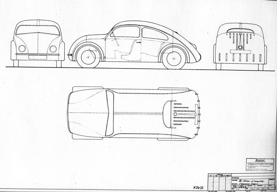 Skizze 803, die Komenda am 27.8.1934 gezeichnet hatte. Die erste Zeichnung Komendas für den Volkswagen, Typ 60.