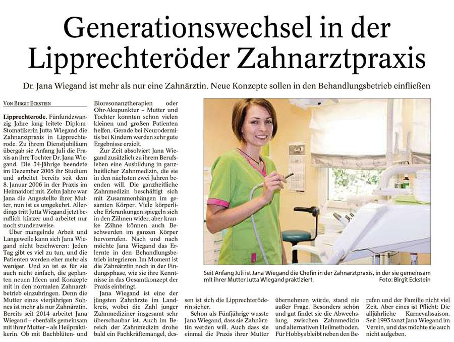 Dr. Jana Wiegand, Generationenwechsel in der Zahnarztpraxis