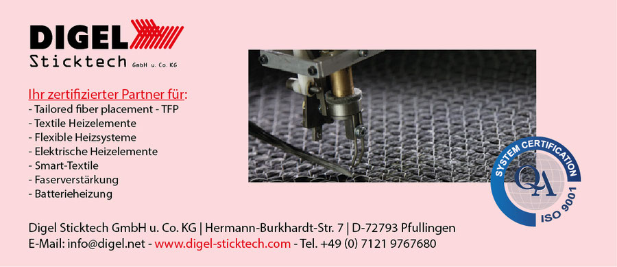 Digel Sticktech TFP Textile flexible Heizelemente Faserverstärkung Batterieheizung