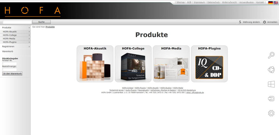 Website Screenshot von hofa-shop