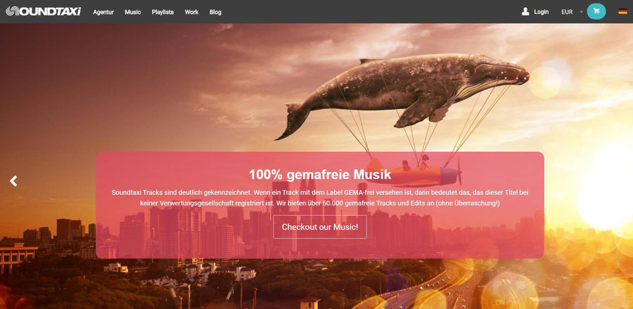 Website Screenshot von soundtaxi
