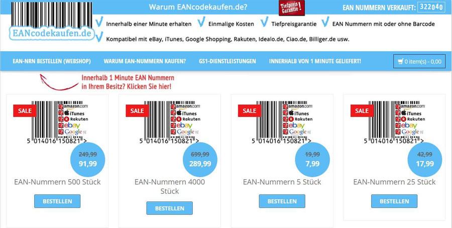 Website Screenshot von Eancodekaufen