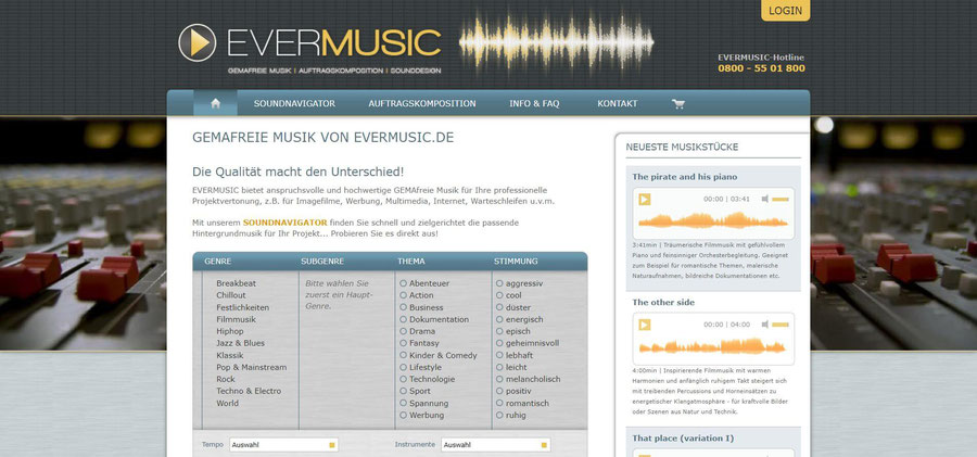 Website Screenshot von evermusic