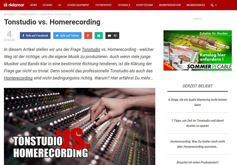 Website Screenshot von Delamar (Tonstudio vs. Homerecording)
