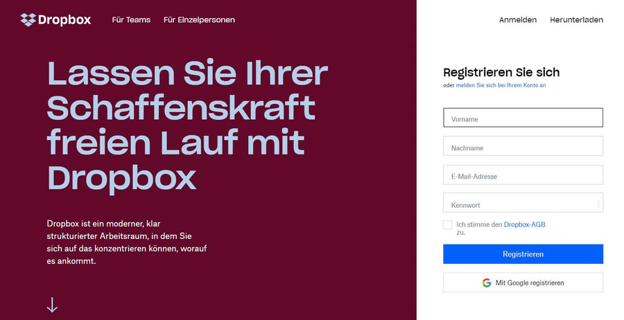 Website Screenshot von dropbox