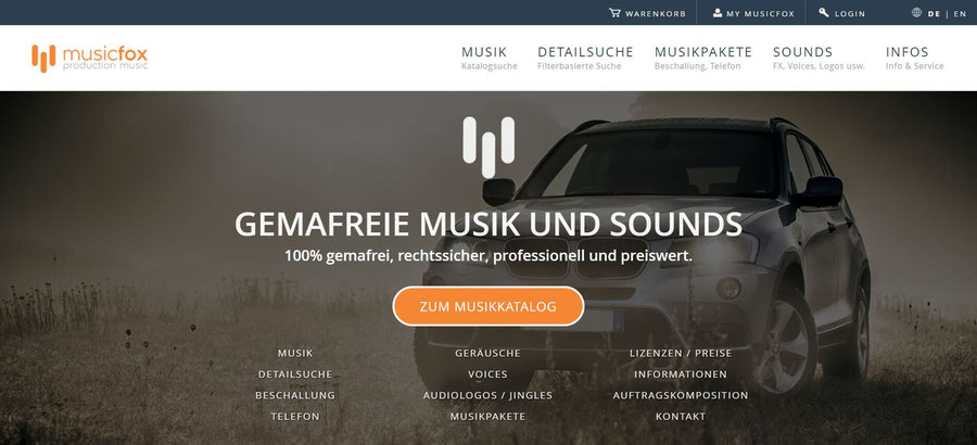 Website Screenshot von musicfox