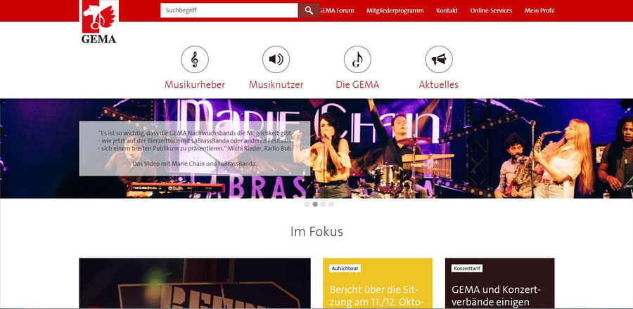Website Screenshot von gema