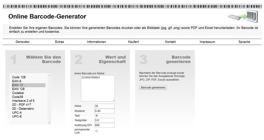 Website Screenshot von barcode-generator