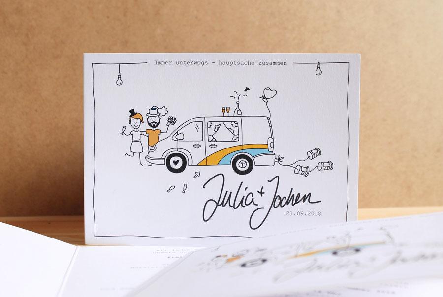 Hochzeitseinladung Hochzeitspapeterie individuell Illustration Martina Lengers