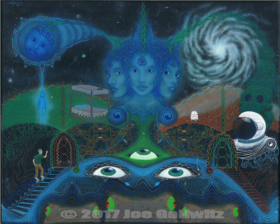 A mix of Ayahuasca visions gathered in one painting based on my experiences in the Amazonian jungles of Peru