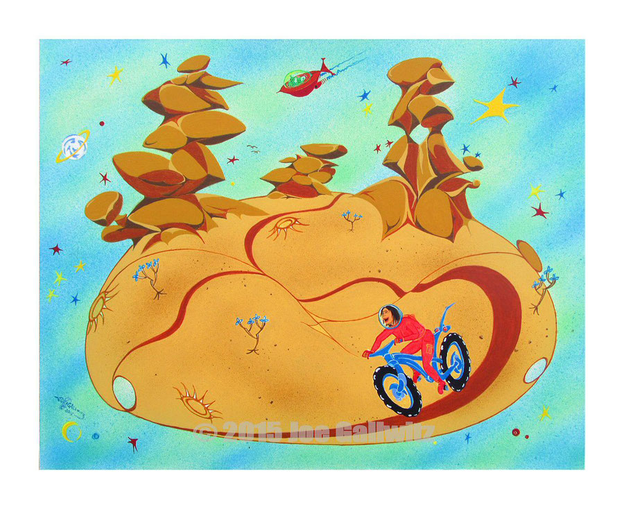 A Retro cartoon style painting of a futuristic mountain bike excursion to a fun set of singletrack, on an asteroid in the bicycling zone.