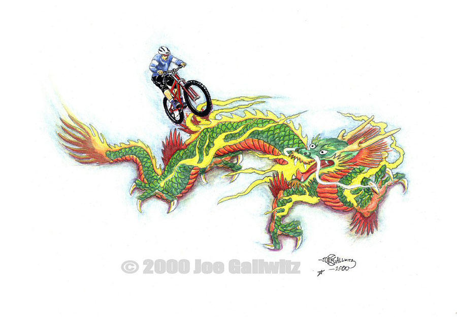 Mountain bike rider jumping over a Chinese dragon who does not seem all that happy about it