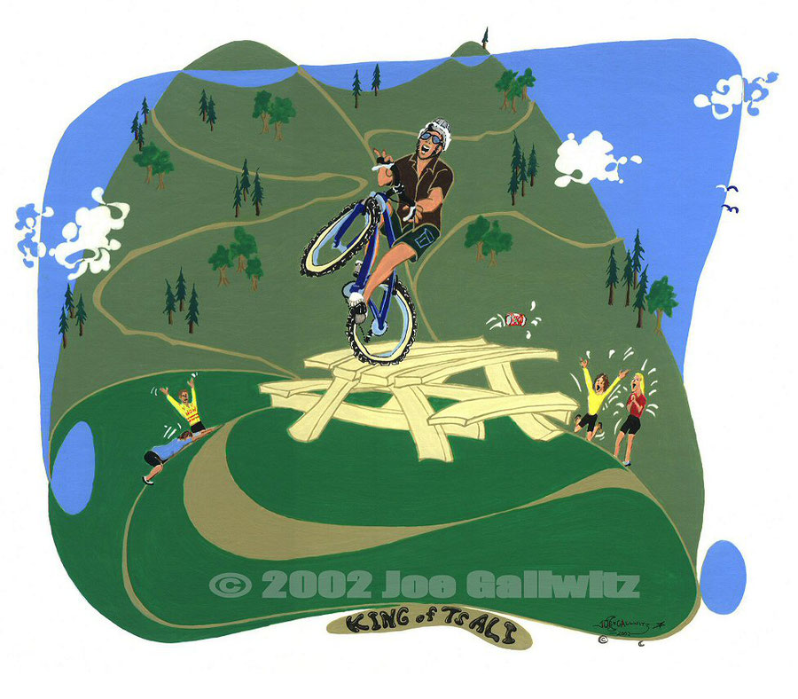 "A surreal and cartoonish painting of my mountain bike buddy Chris Ivory enthralling the crowds at Tsali trailhead ""posing"" lot."