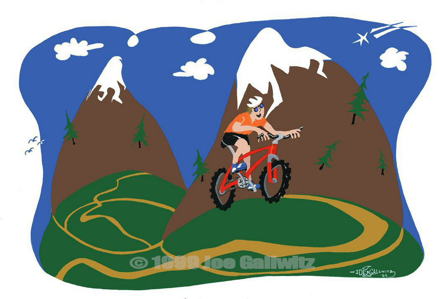 Self portrait as part of my Mountain Bike cartoon series. Bicycling is supposed to be fun- it's all about being a kid again.