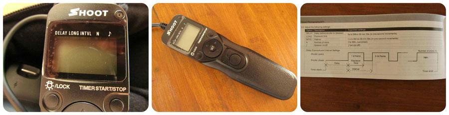 fitTek® Shoot RS-60E3 Timer Fernauslöser Timer-Fernbedienung  - Amazon 14,73 EUR - funktioniert einwandfrei