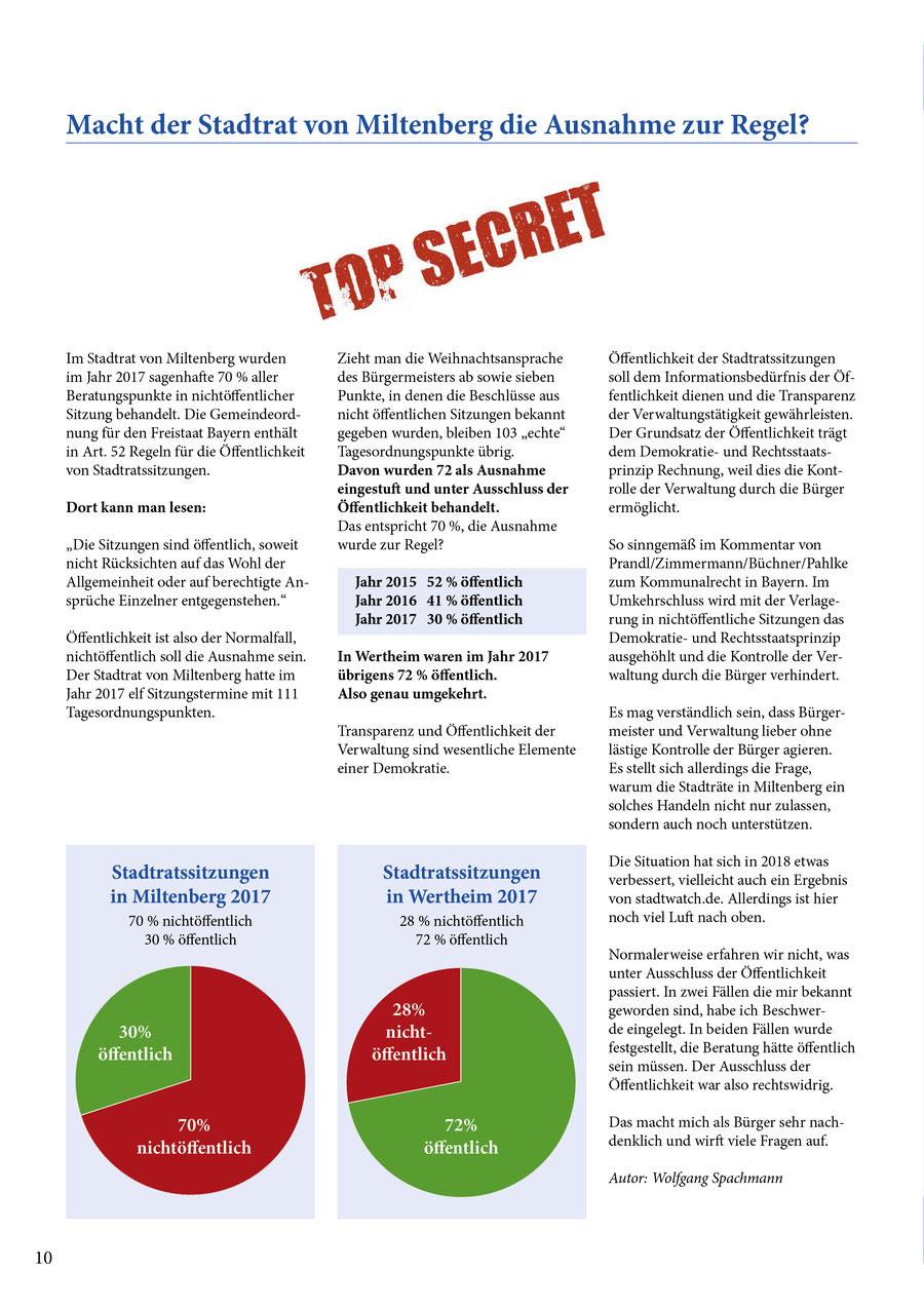 Auszug aus der Bürgerzeitung der Bürgerliste Miltenberg