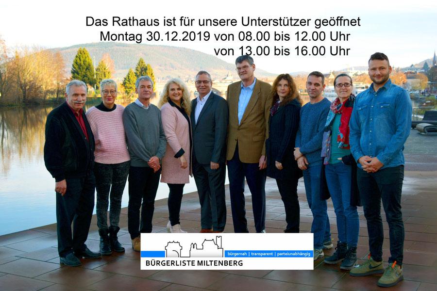 Die Kandidaten der Bürgerliste Miltenberg