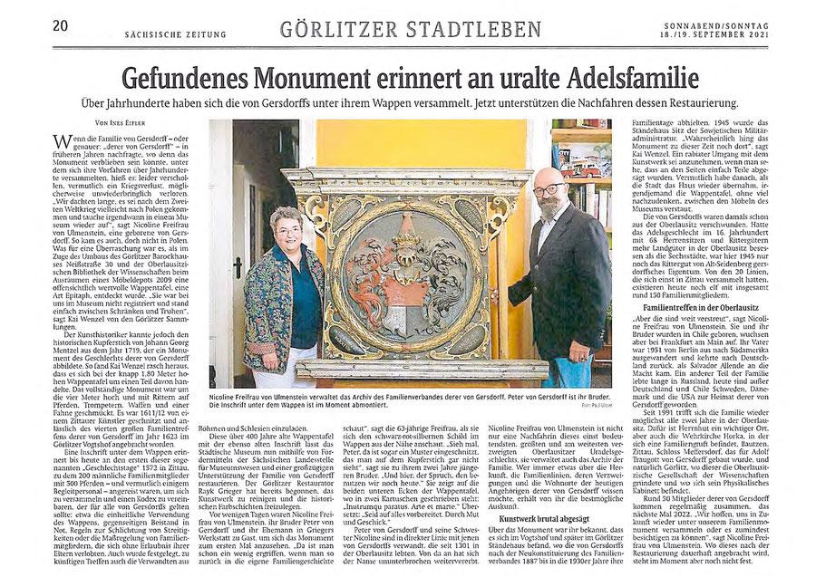 Der Artikel aus der Sächsischen Zeitung vom 18.09.2021. Ihr könnt durch Anklicken den Artikel verbrößern oder über unten stehenden Link downloaden.