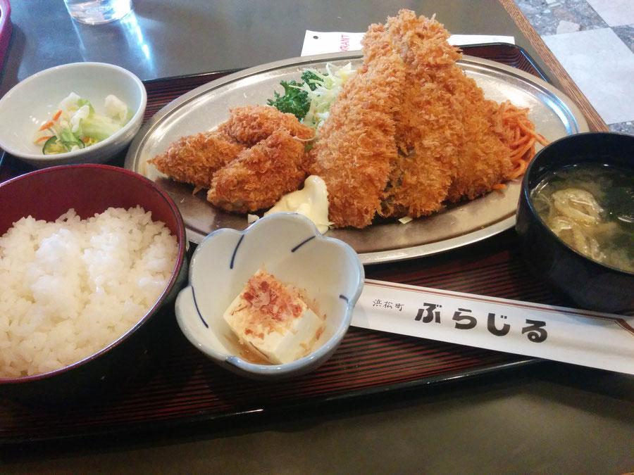 カキとアジフライ定食