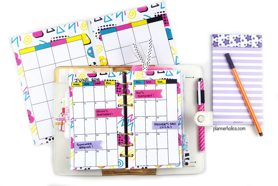 free summer monthly calendar printable for your planner