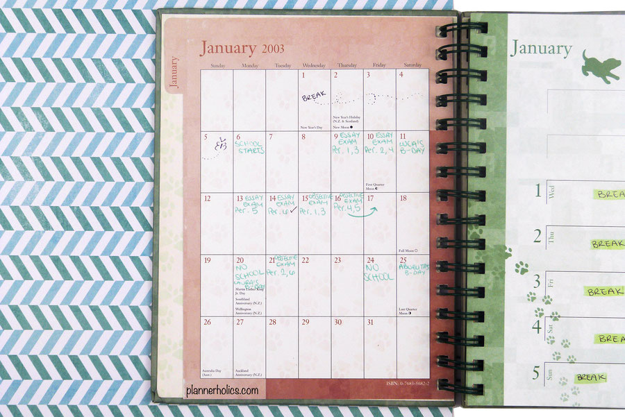 use a monthly calendar for school and track all your exams and assignments