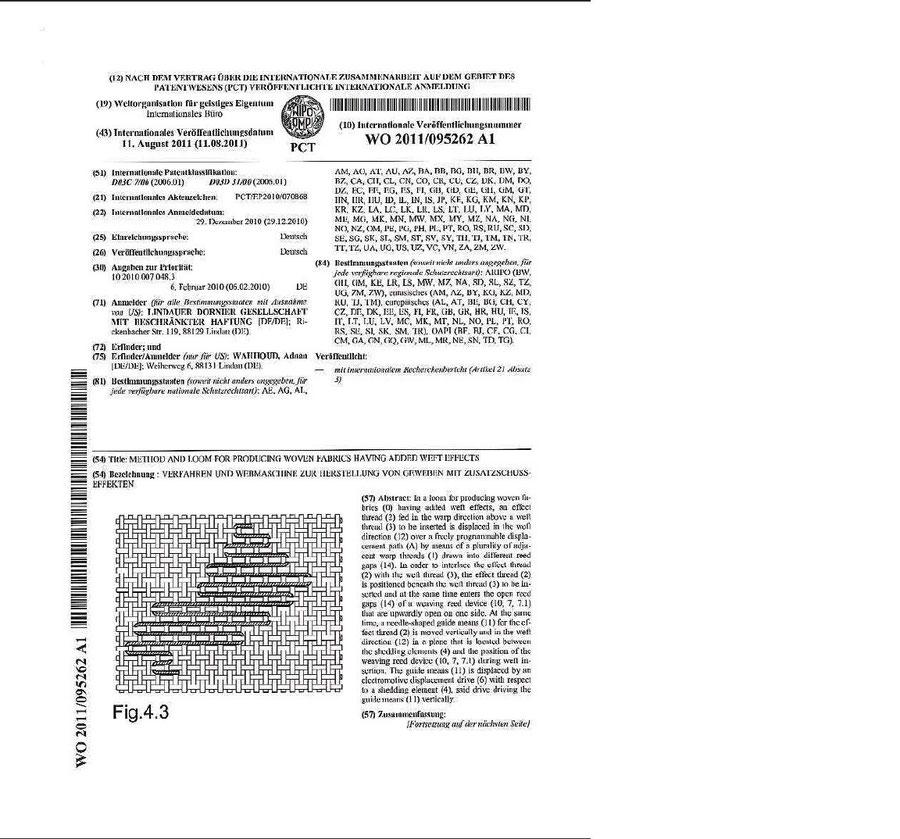 صفحة تسجيل الاختراع لدى المنظمة العالمية للملكية الفكرية في جنيف