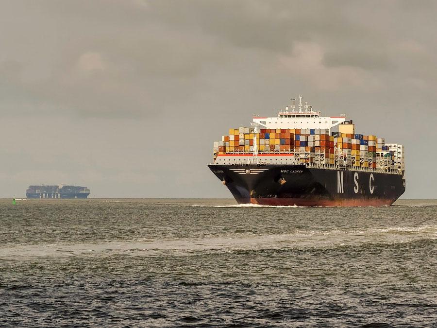 """""""MSC Lauren"""" mit einer Kapazität von max 12.400 TEU und """"CMA-CGM Vasco da Gama"""" kommen uns entgegen."""