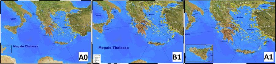 """Die drei möglichen Größen meiner neuen Karte """"Das klassische Griechenland""""."""