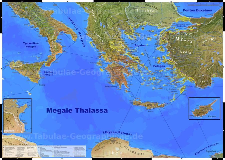 Antikes klassisches altes Griechenland landkarte karte